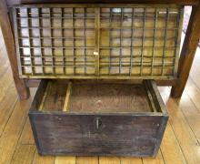 A CARPENTERS WOODEN CHEST & PRINTERS BOX