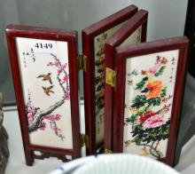 A CHINESE TILE IN SCREEN, EACH TILE HANDPAINTED & SIGNED
