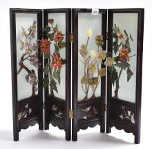 A FOUR PANNEL CHINESE SCREEN WITH CORAL, JADE, & SEMI PRECIOUS STONES
