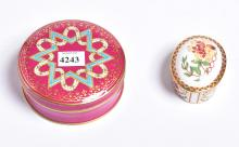 A ROYAL CROWN DERBY PILL BOX & FRENCH PORCELAIN CONTAINER