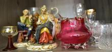 A PART SHELF OF ASSORTED ITEMS, INCL. BOHEMIAN GLASS, CAPODIMONTE & MIKASSA