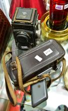 A ROLLEI DOUBLE LENS CAMERA & VINTAGE MOVIE CAMERA
