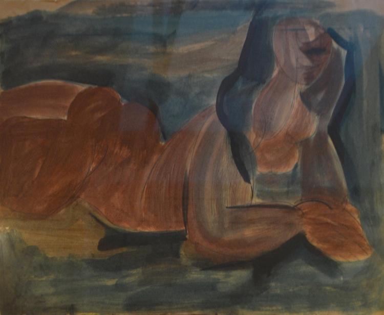 NANCY GRANT, NUDE LYING, WATERCOLOUR, 48 X 58CM