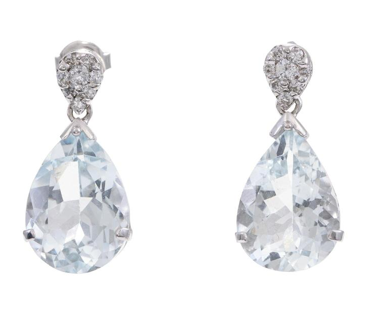 A Pair Of Aquamarine And Diamond Drop Earrings Each Compri