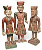 THREE CARVED TIMBER AND HAND PAINTED INDIAN FIGURES