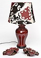 AN OXBLOOD GLAZED TABLE LAMP WITH SUZANI SHADE TOGETHER WITH TWO OXBLOOD GLAZED CRABS