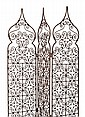 TWO MOROCCAN IRON SCROLL WORKED THREEFOLD FLOOR SCREENS