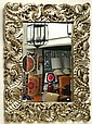 A LARGE RELIEF CARVED AND SILVER OVERLAY WALL MIRROR,150 X 125 CM