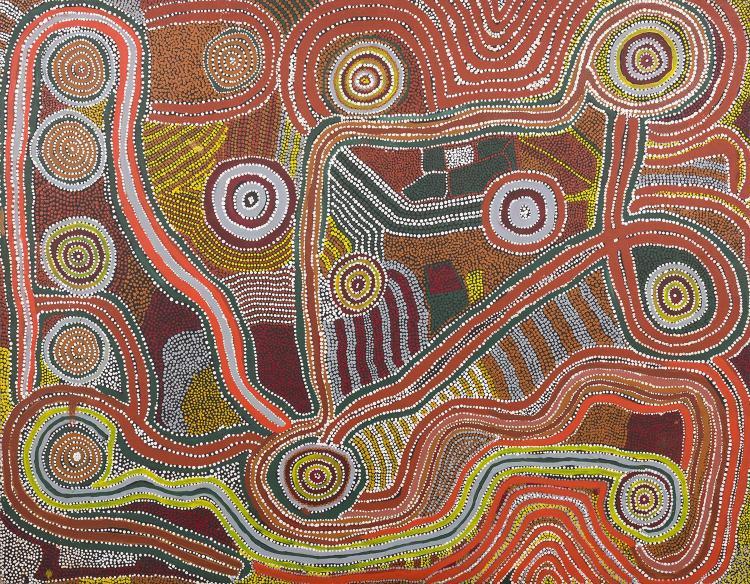 PADDY NELSON TJUPURRULA (c.1919-1990) Yala Tjukurrpa - Bush Potato Dreaming  1986 acrylic on canvas