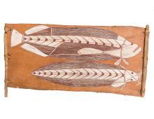 BILINYARA NABEGEYO (c.1920-c.1990) Catfish and a Saratoga Fish 1972 natural earth pigments on eucalyptus bark