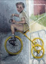 DORA CHAPMAN (1911-1995) Girl on a Bicycle oil on board