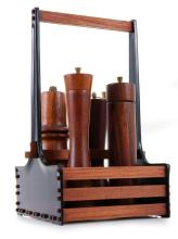 DANISH ROSEWOOD PEPPER MILLS AND HOLDING TRAY, ALONG WITH VARYING SERVING TRAYS