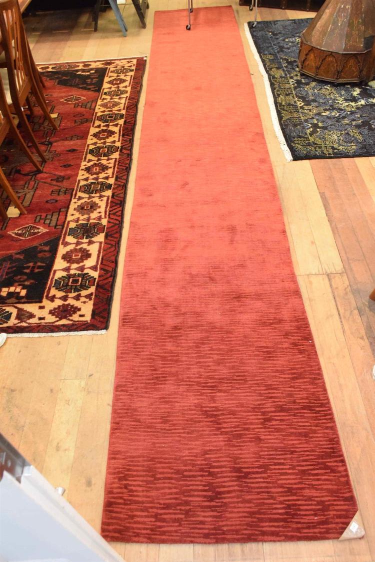 Extra Long Handmade Loom Hall Runner Wool Amp Silk Texture B