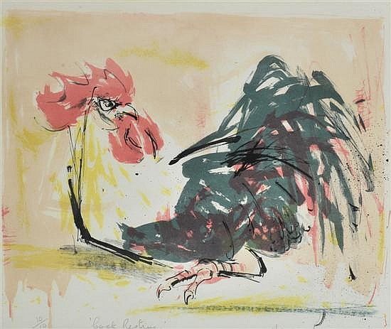 Mary MacQueen (1912-1994) Cock Resting 1971 lithograph 10/10