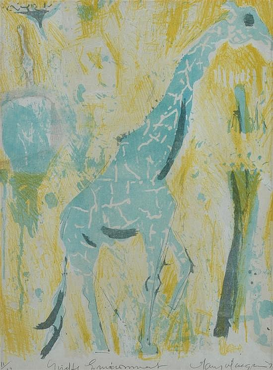 Mary MacQueen (1912-1994) Giraffe Environment 1972 lithograph 11/12