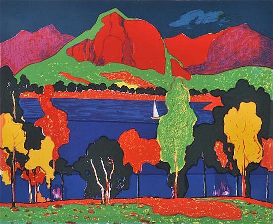John Rigby (born 1922) Moogerah Lake sreenprint 36/50
