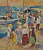 JOHN RIGBY, THE JETTY, OIL ON BOARD, 63 X 53CM, John Rigby, Click for value