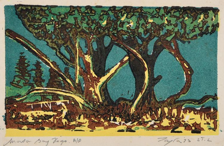 JOHN TAYLOR (BORN 1921) Morton Bay Figs linocut A/P