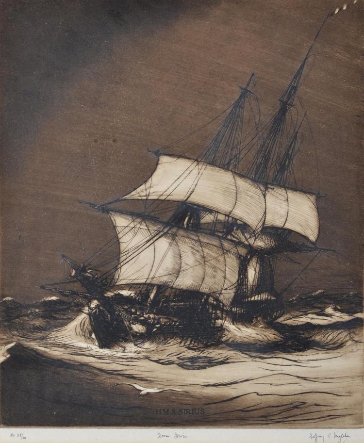 GEOFFREY INGLETON (1908-98) Storm Driven etching