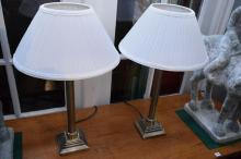 A PAIR OF COLLUMNAR TABLE LAMPS
