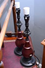 A PAIR OF TIMBER LAMP BASES