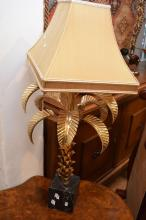 AN EARLY 20TH CENTURY GOLDEN PALM TREE LAMP ON MARBLE BASE