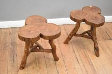 TWO RUSTIC TREE STOOLS