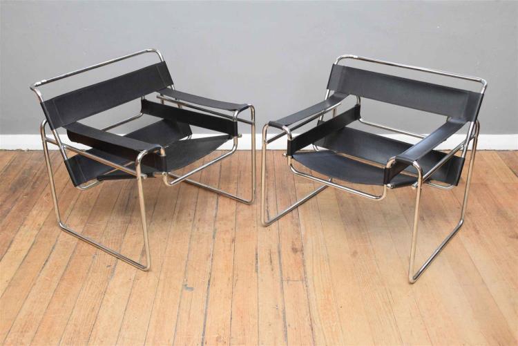 A pair of replica marcel breuer wassily chairs in black - Wassily chair replica ...
