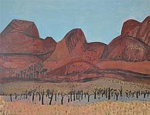 JILL NOBLE (born 1962), Red Ranges, N.T. 1992, gouache on paper, PROVENANCE: Australian Galleries, Melbourne (label attached verso)...