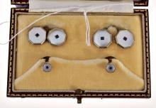 A HARDY BROTHERS CUFFLINK AND BUTTON SET, BOXED