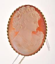 A CAMEO BROOCH SET IN 9CT GOLD