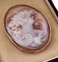 A CAMEO BROOCH MOUNTED TO A 9CT GOLD FRAME