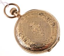 A WALTHAM POCKET WATCH TO A GOLD ENGRAVED CASE A/F