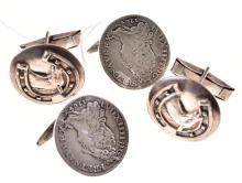 TWO PAIRS OF SILVER CUFFLINKS, ONE WITH COINS, ONE WITH HORSE MOTIF