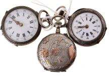 A GROUP OF THREE SILVER LADIES POCKET WATCHES AF
