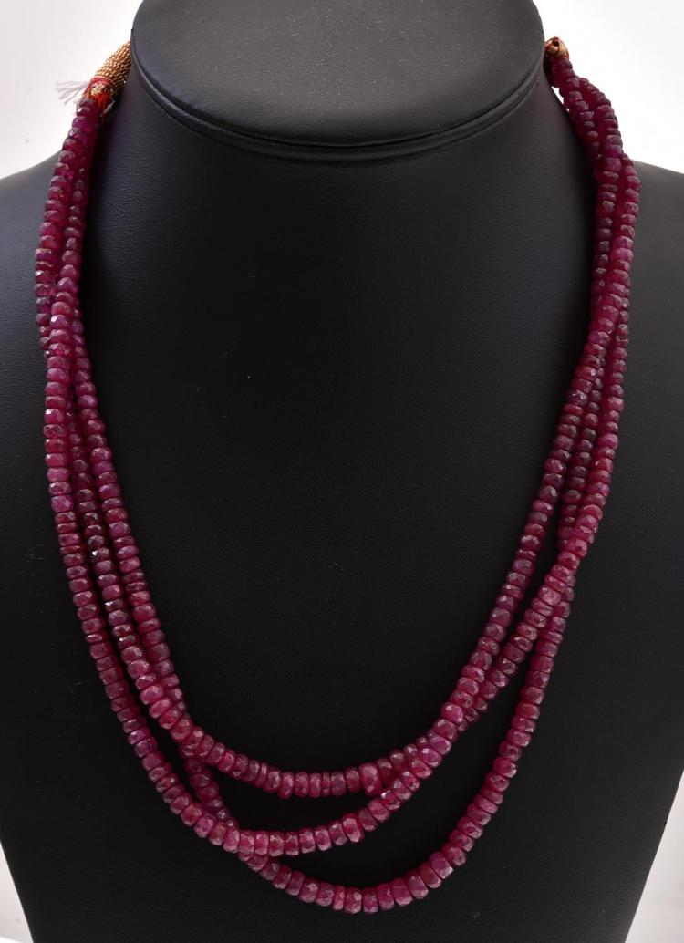 a strand ruby bead necklace