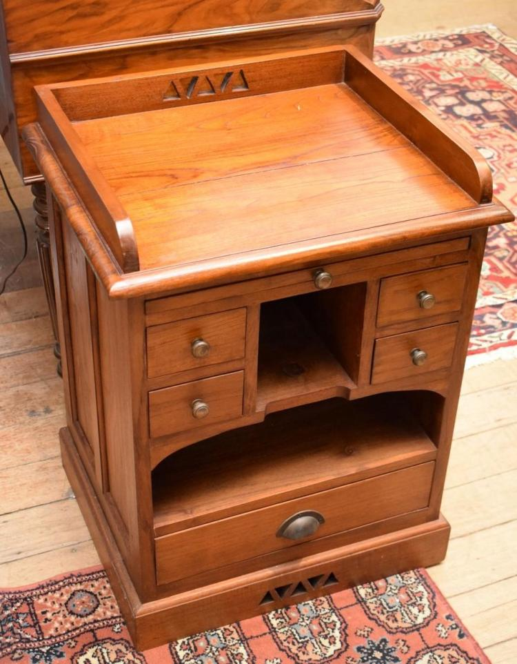 a small wooden writing desk with drawers. Black Bedroom Furniture Sets. Home Design Ideas