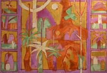 ANNEKE SILVER, PALM TREES 1990, ACRYLIC AND GOLD LEAF ON CANVAS, TRIPTYCH, 122 X 176CM (OVERALL)