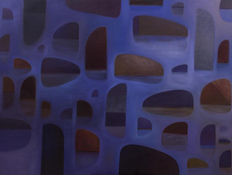 GRAEME ALTMANN (born 1966) Blue Rocks- Pea Soup Series oil on linen