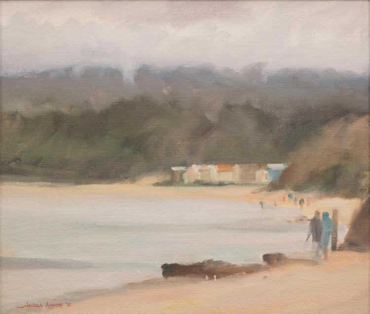 ANGELA ABBOTT (born 1940) Misty Rain at Mornington 1992 oil on canvasboard