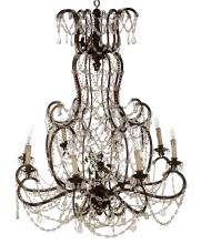 AN ELABORATE FRENCH EIGHT SCONCE CHANDELIER - located in Leonard room (please ask for assistance)
