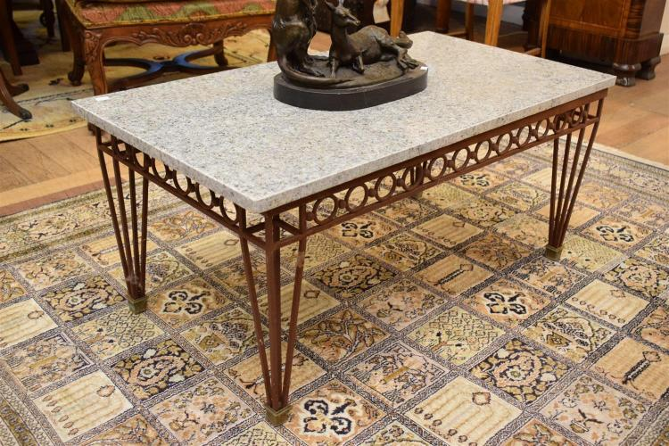 A french style wrought iron coffee table with granite top for Style house styling iron