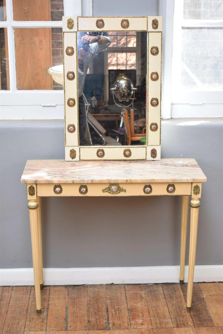 Foyer Table With Granite Top : A louis xvi style granite top hall table with matching mirro