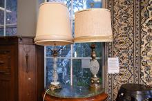 TWO CLASSICAL STYLE TABLE LAMPS, GLASS AND BRASS FINISHED