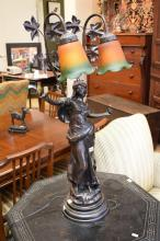 A DECO STYLE TWO GLOBE TABLE LAMP