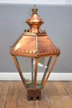 AN EARLY 19TH CENTURY COPPER LANTERN (WITH GLASS PART IN OFFICE)