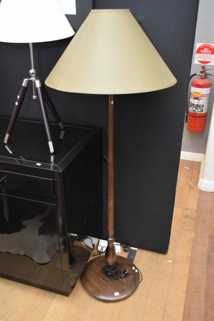 A timber standard floor lamp with olive shade for Olive wood floor lamp