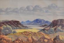 CLAUDE PANNKA, CENTRAL AUSTRALIAN LANDSCAPE, WATERCOLOUR, 35 X 51 CM