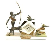 A FRENCH ART DECO MANTLE CLOCK WITH HUNTER AND HOUND MOTIF, SPELTER ON MARBLE (AS FOUND) 59CM HIGH AND 65CM LONG