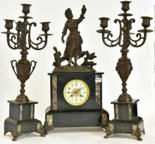 A THREE PIECE SLATE AND MARBLE CLOCK SET WITH HARVEST SPELTER FIGURE